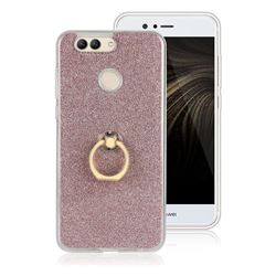 Luxury Soft TPU Glitter Back Ring Cover with 360 Rotate Finger Holder Buckle for Huawei Nova 2 Plus - Pink