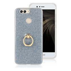 Luxury Soft TPU Glitter Back Ring Cover with 360 Rotate Finger Holder Buckle for Huawei Nova 2 Plus - Blue