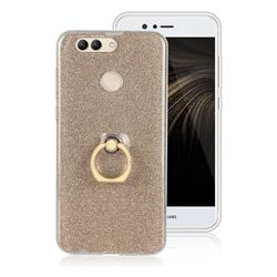 Luxury Soft TPU Glitter Back Ring Cover with 360 Rotate Finger Holder Buckle for Huawei Nova 2 Plus - Golden
