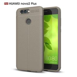 Luxury Auto Focus Litchi Texture Silicone TPU Back Cover for Huawei Nova 2 Plus - Gray