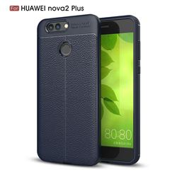 Luxury Auto Focus Litchi Texture Silicone TPU Back Cover for Huawei Nova 2 Plus - Dark Blue