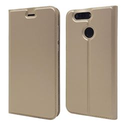 Ultra Slim Card Magnetic Automatic Suction Leather Wallet Case for Huawei Nova 2 Plus - Champagne