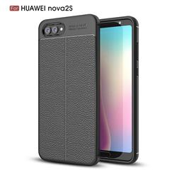 Luxury Auto Focus Litchi Texture Silicone TPU Back Cover for Huawei Nova 2s - Black