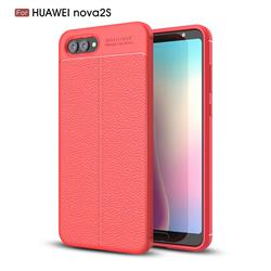 Luxury Auto Focus Litchi Texture Silicone TPU Back Cover for Huawei Nova 2s - Red