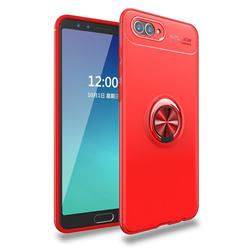 Auto Focus Invisible Ring Holder Soft Phone Case for Huawei Nova 2s - Red