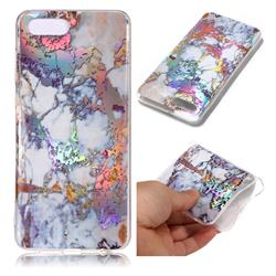 Gold Plating Marble Pattern Bright Color Laser Soft TPU Case for Huawei Nova 2s