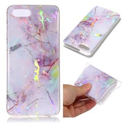 Pink Purple Marble Pattern Bright Color Laser Soft TPU Case for Huawei Nova 2s