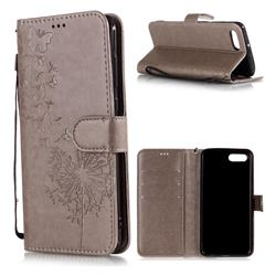 Intricate Embossing Dandelion Butterfly Leather Wallet Case for Huawei Nova 2s - Gray
