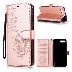 Intricate Embossing Dandelion Butterfly Leather Wallet Case for Huawei Nova 2s - Rose Gold