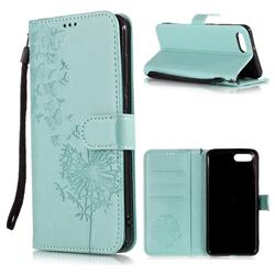 Intricate Embossing Dandelion Butterfly Leather Wallet Case for Huawei Nova 2s - Green
