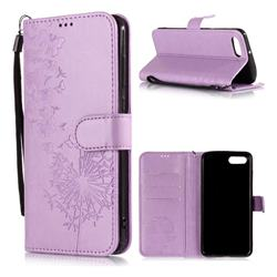Intricate Embossing Dandelion Butterfly Leather Wallet Case for Huawei Nova 2s - Purple