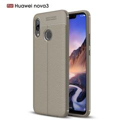 Luxury Auto Focus Litchi Texture Silicone TPU Back Cover for Huawei Nova 3 - Gray