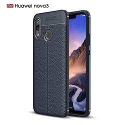 Luxury Auto Focus Litchi Texture Silicone TPU Back Cover for Huawei Nova 3 - Dark Blue