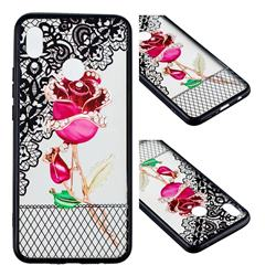 Rose Lace Diamond Flower Soft TPU Back Cover for Huawei Nova 3