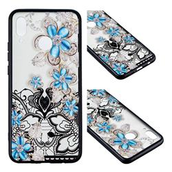 Lilac Lace Diamond Flower Soft TPU Back Cover for Huawei Nova 3