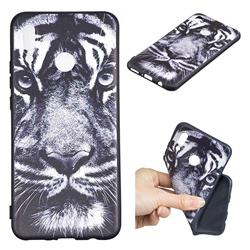 White Tiger 3D Embossed Relief Black TPU Cell Phone Back Cover for Huawei Nova 3