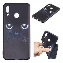 Bearded Feline 3D Embossed Relief Black TPU Cell Phone Back Cover for Huawei Nova 3