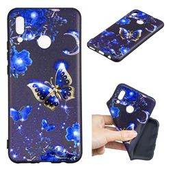 Phnom Penh Butterfly 3D Embossed Relief Black TPU Cell Phone Back Cover for Huawei Nova 3