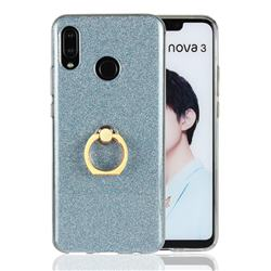 Luxury Soft TPU Glitter Back Ring Cover with 360 Rotate Finger Holder Buckle for Huawei Nova 3 - Blue