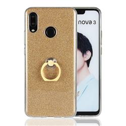 Luxury Soft TPU Glitter Back Ring Cover with 360 Rotate Finger Holder Buckle for Huawei Nova 3 - Golden
