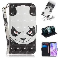 Angry Bear 3D Painted Leather Wallet Phone Case for Huawei Nova 3