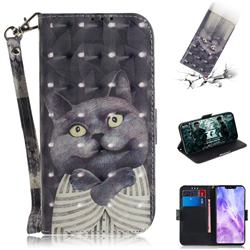 Cat Embrace 3D Painted Leather Wallet Phone Case for Huawei Nova 3