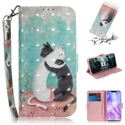 Black and White Cat 3D Painted Leather Wallet Phone Case for Huawei Nova 3