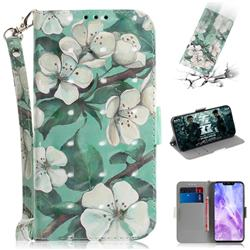Watercolor Flower 3D Painted Leather Wallet Phone Case for Huawei Nova 3