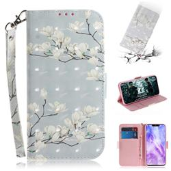 Magnolia Flower 3D Painted Leather Wallet Phone Case for Huawei Nova 3