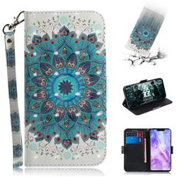 Peacock Mandala 3D Painted Leather Wallet Phone Case for Huawei Nova 3