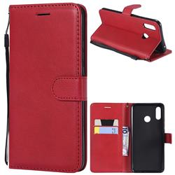 Retro Greek Classic Smooth PU Leather Wallet Phone Case for Huawei Nova 3 - Red