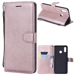 Retro Greek Classic Smooth PU Leather Wallet Phone Case for Huawei Nova 3 - Rose Gold