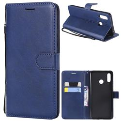 Retro Greek Classic Smooth PU Leather Wallet Phone Case for Huawei Nova 3 - Blue