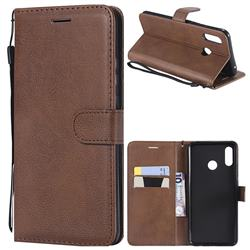 Retro Greek Classic Smooth PU Leather Wallet Phone Case for Huawei Nova 3 - Brown