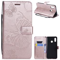 Embossing 3D Butterfly Leather Wallet Case for Huawei Nova 3 - Rose Gold