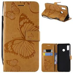 Embossing 3D Butterfly Leather Wallet Case for Huawei Nova 3 - Yellow