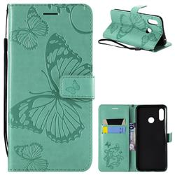 Embossing 3D Butterfly Leather Wallet Case for Huawei Nova 3 - Green