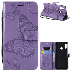 Embossing 3D Butterfly Leather Wallet Case for Huawei Nova 3 - Purple