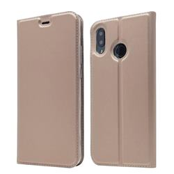 Ultra Slim Card Magnetic Automatic Suction Leather Wallet Case for Huawei Nova 3 - Rose Gold