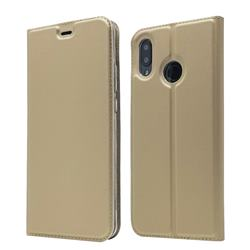 Ultra Slim Card Magnetic Automatic Suction Leather Wallet Case for Huawei Nova 3 - Champagne