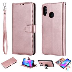 Retro Greek Detachable Magnetic PU Leather Wallet Phone Case for Huawei Nova 3 - Rose Gold