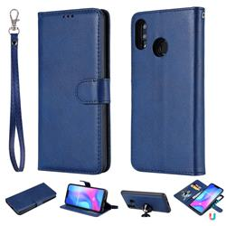 Retro Greek Detachable Magnetic PU Leather Wallet Phone Case for Huawei Nova 3 - Blue