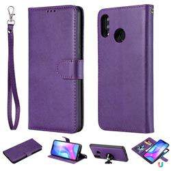 Retro Greek Detachable Magnetic PU Leather Wallet Phone Case for Huawei Nova 3 - Purple