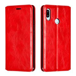 Retro Slim Magnetic Crazy Horse PU Leather Wallet Case for Huawei Nova 3 - Red