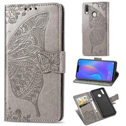 Embossing Mandala Flower Butterfly Leather Wallet Case for Huawei Nova 3 - Gray