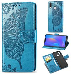 Embossing Mandala Flower Butterfly Leather Wallet Case for Huawei Nova 3 - Blue