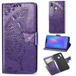 Embossing Mandala Flower Butterfly Leather Wallet Case for Huawei Nova 3 - Dark Purple