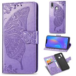 Embossing Mandala Flower Butterfly Leather Wallet Case for Huawei Nova 3 - Light Purple