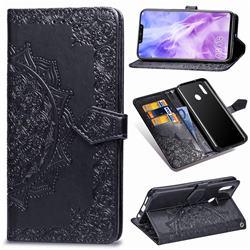 Embossing Imprint Mandala Flower Leather Wallet Case for Huawei Nova 3 - Black