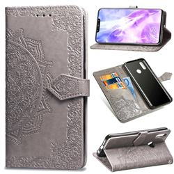 Embossing Imprint Mandala Flower Leather Wallet Case for Huawei Nova 3 - Gray